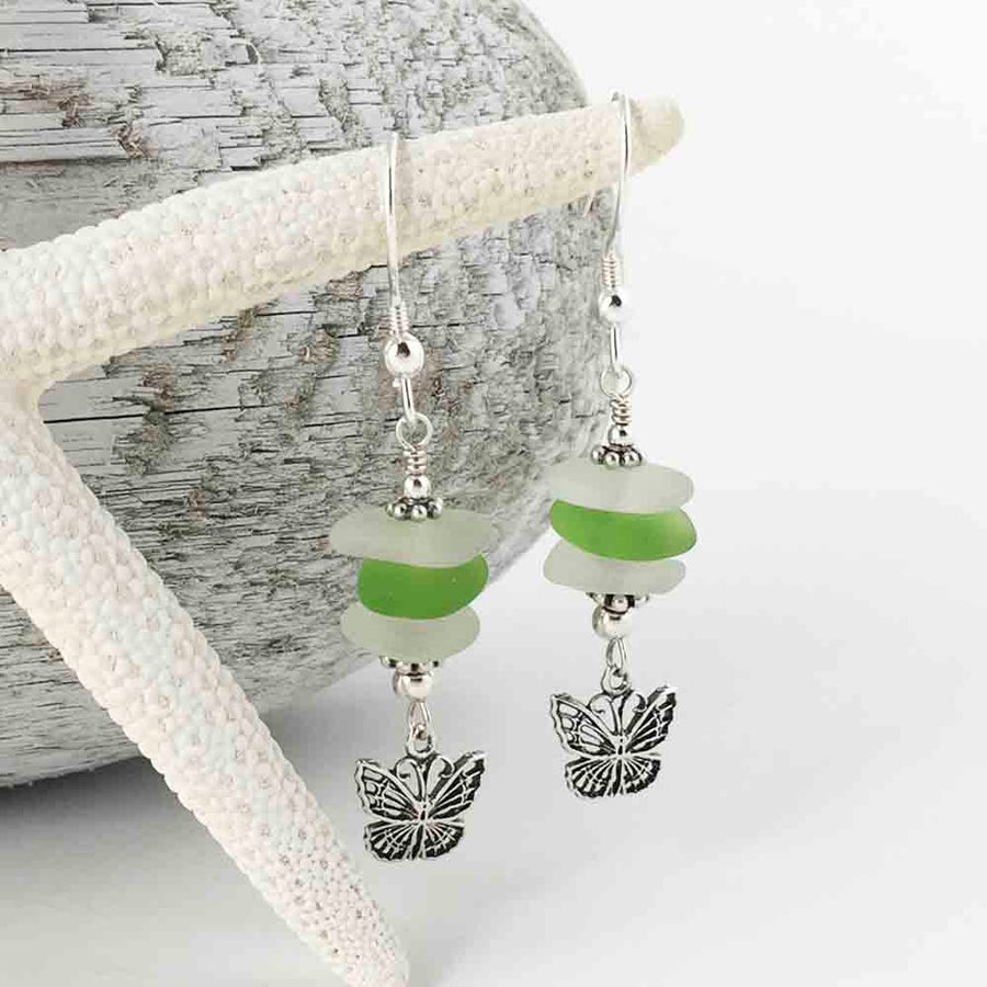 Green and Clear Sea Glass Sea Stack Earrings with Sterling Silver Butterfly Charms
