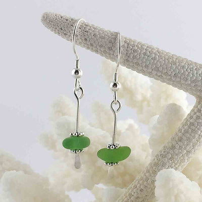 Lime Green Sterling Silver Sea Spray Earrings
