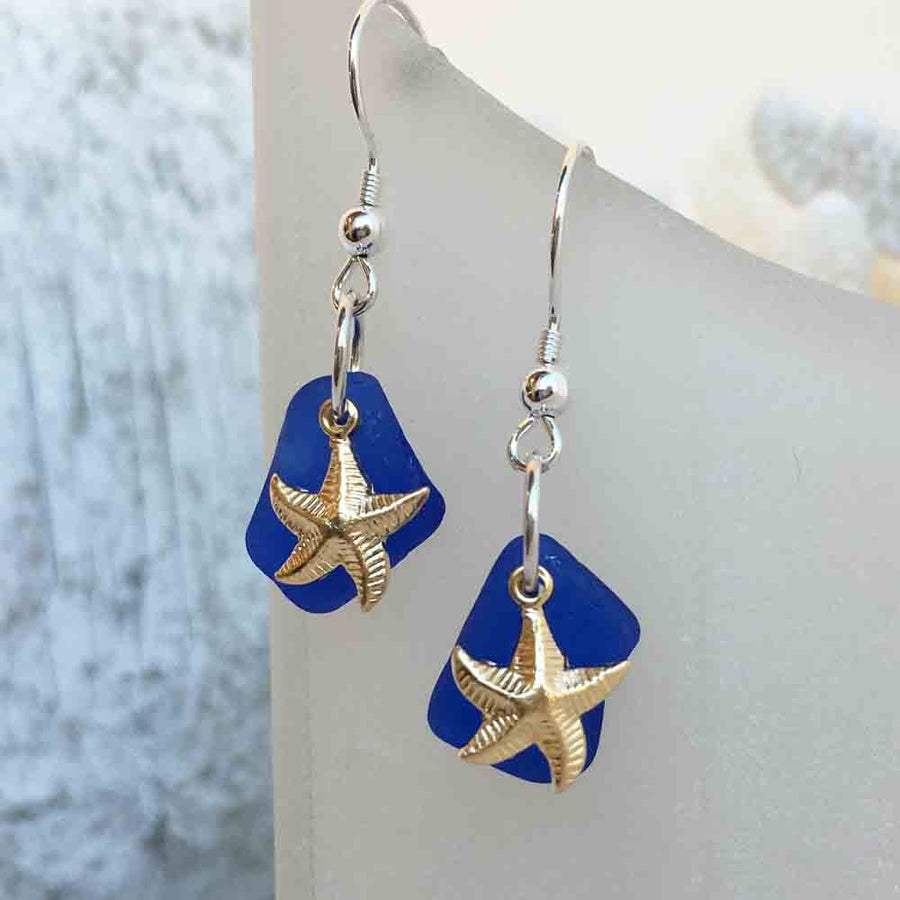 Cobalt Blue Sea Glass Earrings with Gold Starfish Charms