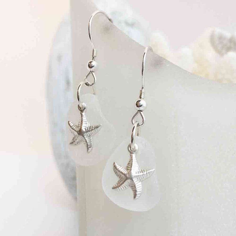 Snowy Crystal Clear Sea Glass Earrings with Sterling Silver Starfish Charms