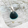 Thick Droplet of Clear and Cobalt Blue to Turquoise English Multi Sea Glass Necklace