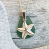 True Teal Sea Glass Necklace with Sterling Silver Starfish Charm