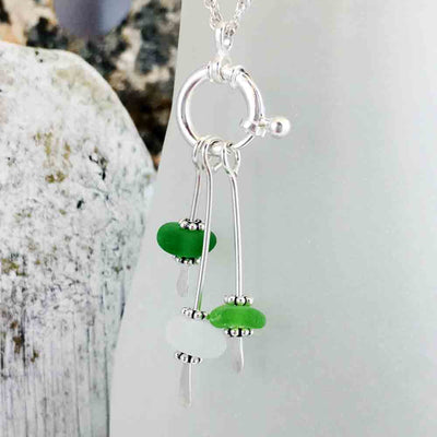 Shimmering Green Leaves Sea Glass Sea Spray Sterling Silver Necklace