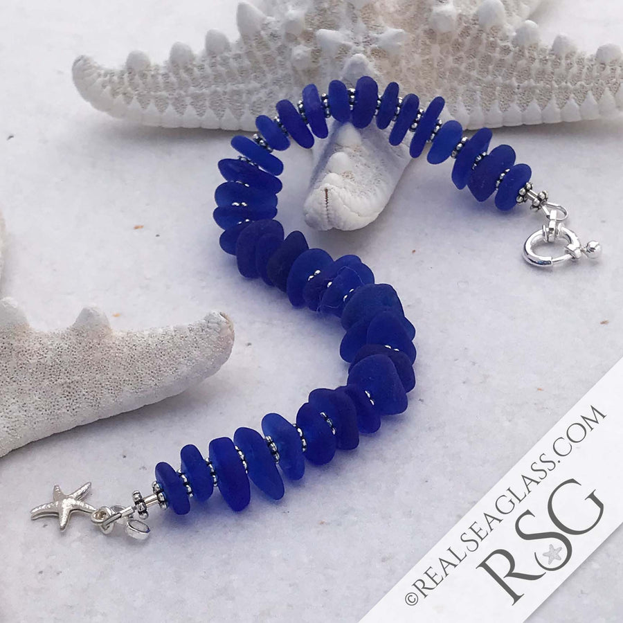 Vibrant Cobalt Blue Sea Glass and Sterling Silver Infinity Bracelet