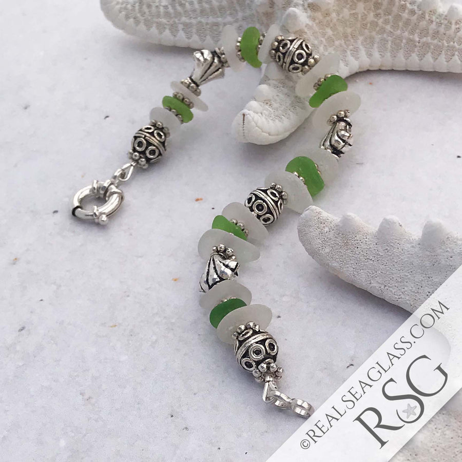 Lime Green and Crystal Clear Sea Glass Bracelet
