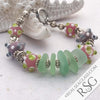 Glowing Seafoam Sea Glass and Pink Lampowork Glass Bead Bracelet