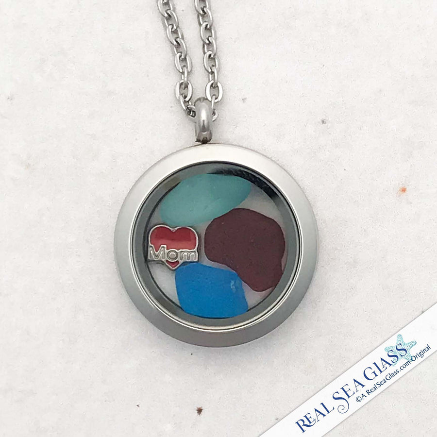 "Small, but Bright with Rare Red and Turquoise ""I Love Mom"" Sea Glass Locket"