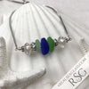 Beach Brights Sea Glass Adjustable Bracelet - the Blues & Greens of a Day at the Beach