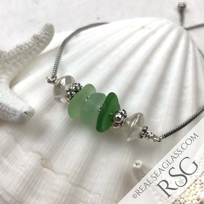 Secret Lagoon Sea Glass Adjustable Bracelet Shades of Peaceful Green | #2053