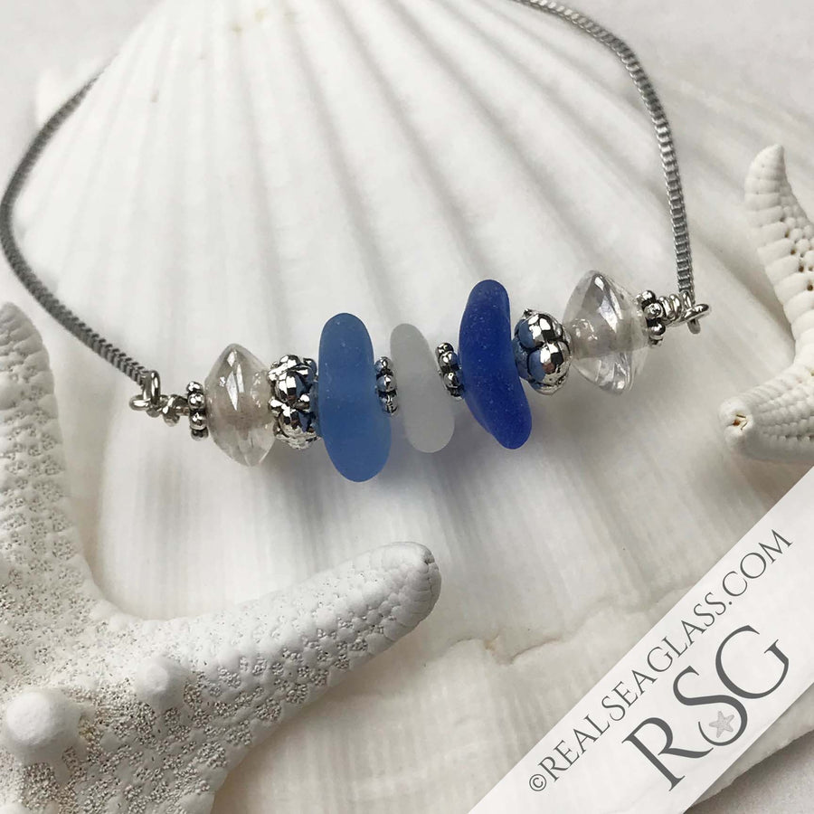 Blue Wave Sea Glass Adjustable Bracelet in Light to Dark Blue & Frosty White