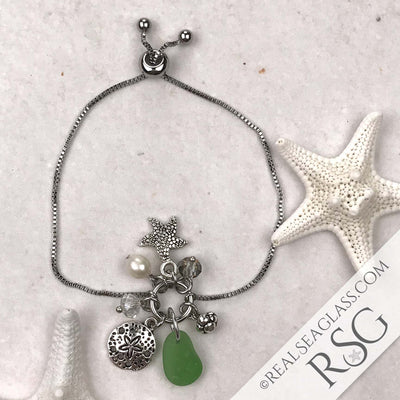 Kelly Green Sea Glass Adjustable Beach Bling Bracelet