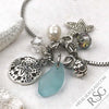 Aqua Sea Glass Adjustable Beach Bling Bracelet with Crystals, Pearl & Sea Life Charms