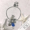 Cornflower Blue Sea Glass Adjustable Beach Bling Bracelet