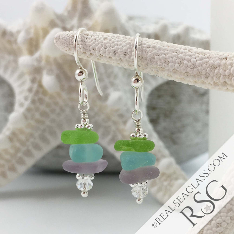 Vibrant Pastels Sea Glass Sea Stack Earrings with Swarovski Crystals