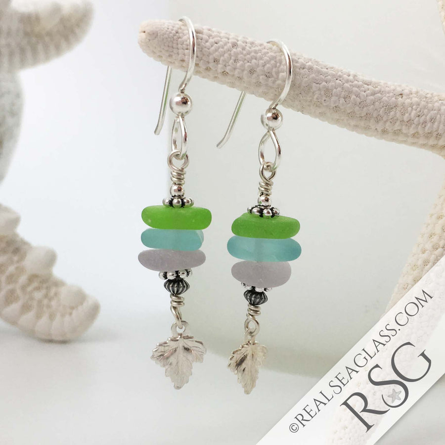 Bright Pastels Sea Glass Sea Stack Earrings with Shimmering Leaves Charms