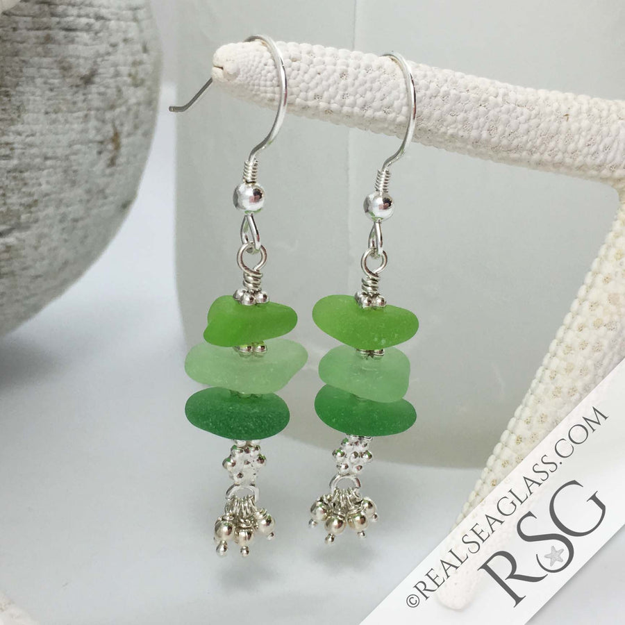 Green Glow Sea Glass Sea Stack Earrings with Tiny Sterling Tassels