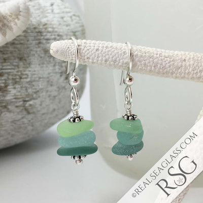 Sea Storms Sea Glass Sea Stack Earrings in Sterling