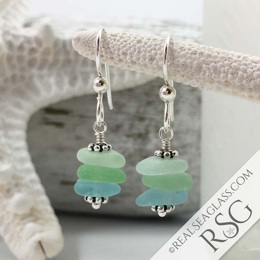 Aqua Seas Sea Glass Sea Stack Earrings with Sterling Rondelles