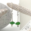 Thick Bright Kelly Green Sterling Silver Sea Spray Earrings