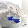 Hues of Blue Sea Glass Sea Stack Earrings with Swarovski Crystal Rondelles