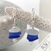Hues of Blue Sea Glass Sea Stack Earrings with Swarovski Crystal Bicones