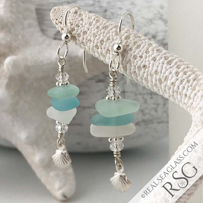 Hues of Aqua Sea Glass Sea Stack Earrings with Scallop Shell Charms