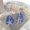 Light Cornflower Blue Sea Glass Earrings with Frosted Starfish Charms