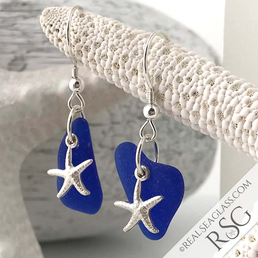 Deep Cobalt Blue Sea Glass Earrings with Frosted Starfish Charms