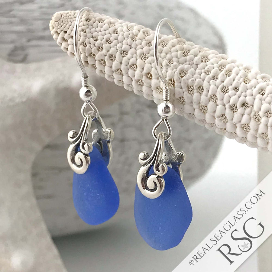 Bright and Beautiful Cornflower Blue Ocean Waves Sea Glass Earrings
