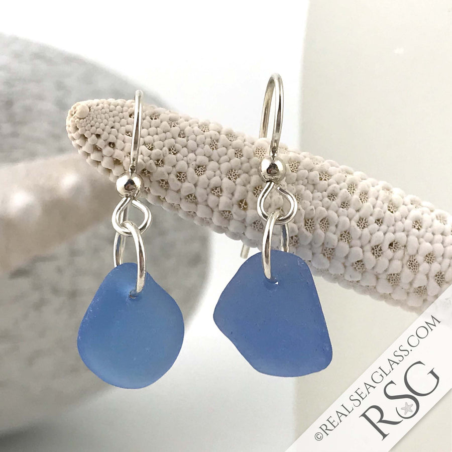 Pure Cornflower Blue Sea Glass Earrings