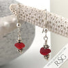 Fire Engine Red Victorian Sea Glass Earrings in Sterling Silver