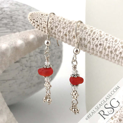 Red-Orange Tassel Sea Glass Earrings in Sterling Silver