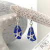 Rich Cobalt Blue Sea Glass Earrings with Sterling Starfish Charms