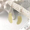 Golden Yellow Sea Glass Taper Earrings