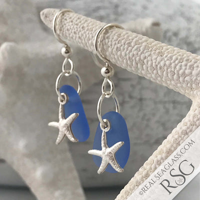 Soft Cornflower Blue Sea Glass Earrings with Starfish Charms