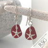 Perfect Bright Red Sea Glass Earrings with Starfish Charms