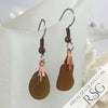 Thick Bright Amber Sea Glass Earrings in Copper