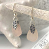 Blush Pink Sea Glass Earrings in Sterling Silver
