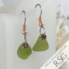Deep Citron to Olive Green Sea Glass Earrings in Copper