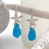 Ultra Rare Patterned Turquoise Sea Glass Earrings with Sand Dollar Charms