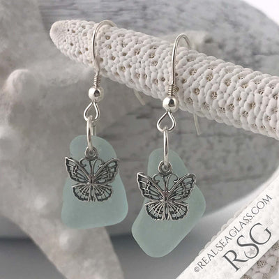 Ice Aqua Sea Glass Earrings with Butterfly Charms