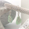 Glowy Seafoam Sea Glass Earrings with Cross Charms