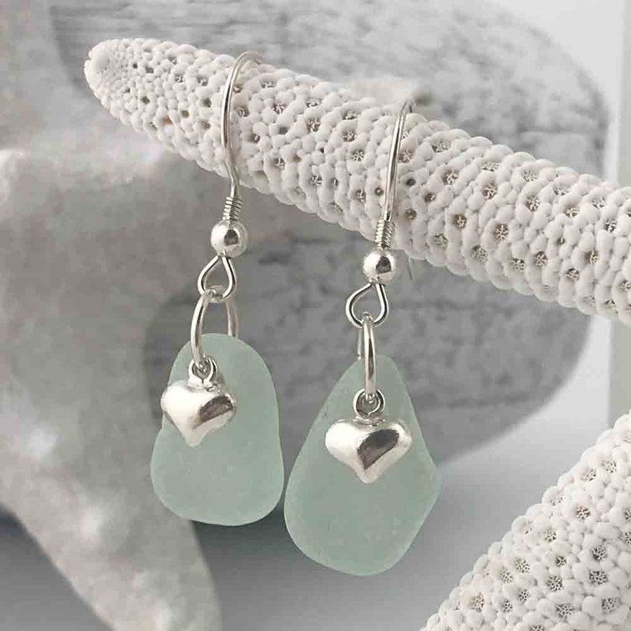 Thick Seafoam Sea Glass Earrings with Puff Heart Charms