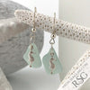 Soft Blue Green Sea Glass Earrings with Sea Horse Charms