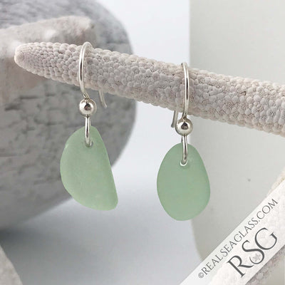 Small Slices of Seafoam Sea Glass Earrings in Sterling Silver