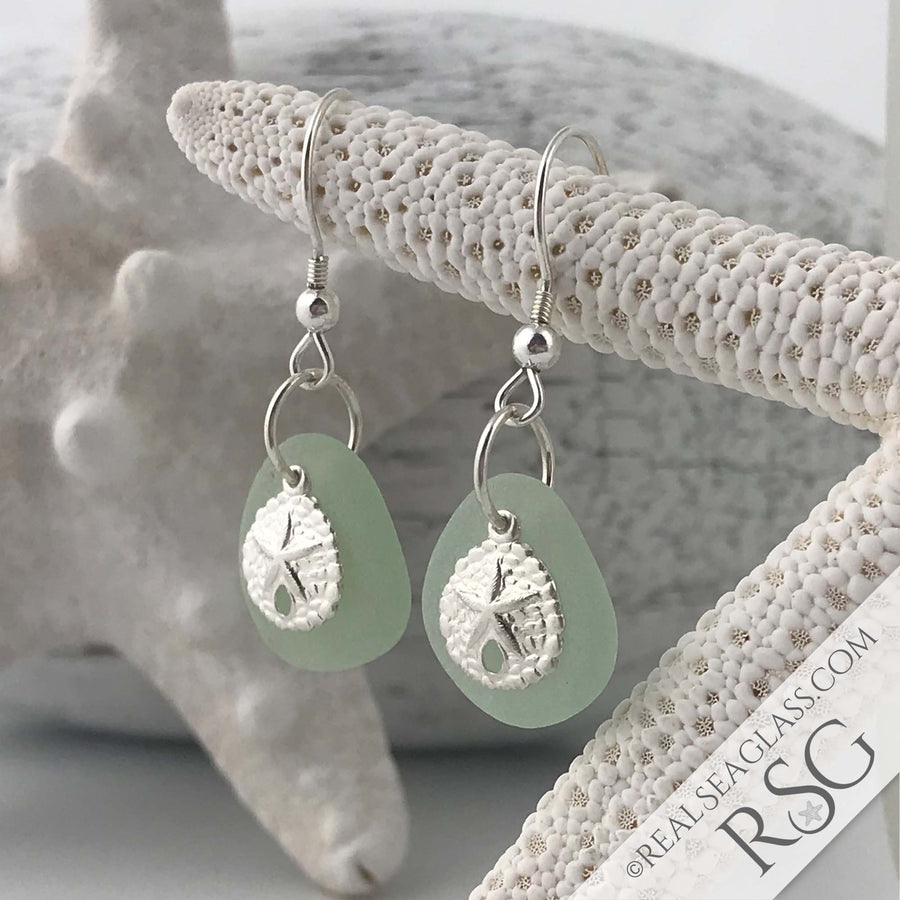 Light Seafoam Sea Glass Earrings with Sand Dollar Charms