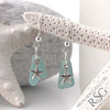 Bright Soft Blue Sea Glass Earrings with Star Fish Charms