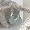 Classic Soft Blue Sea Glass Earrings in Sterling Silver