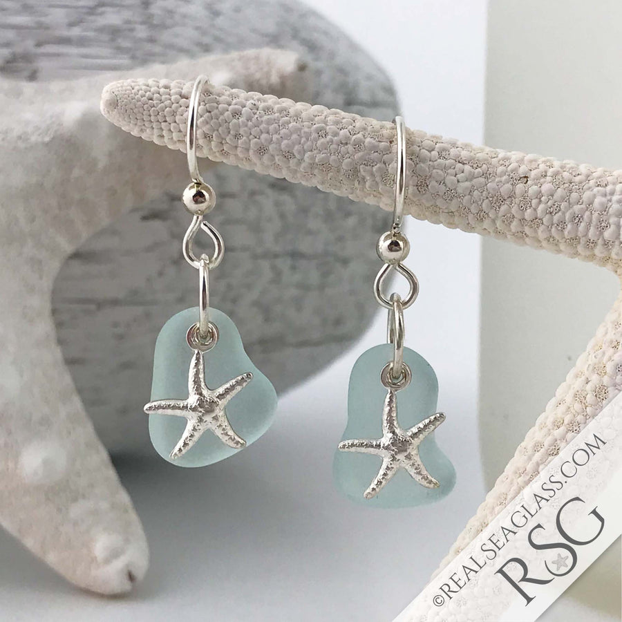 Thick, Soft Blue Sea Glass Earrings with Star Fish Charms