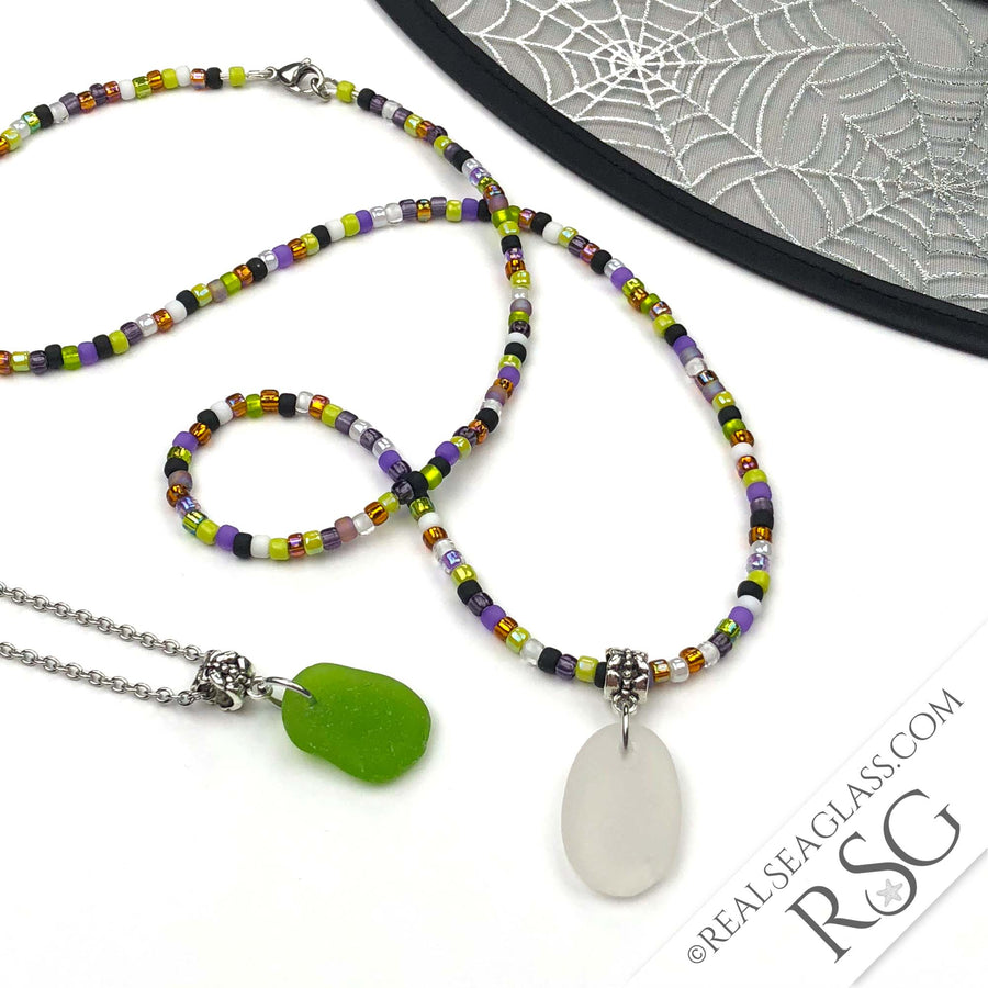 SEA GLASS DUO - Hocus Pocus Beaded Halloween Crystal Clear & Kelly Green Sea Glass Necklaces